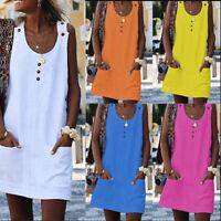 Women Casual O neck Dress Linen Beach Dresses Sleeveless Pockets Dress VestidoLY