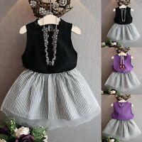 Summer Kids Baby Girls T-shirt Tops + Tutu Dress Skirts Outfits Clothes 2PCS Set