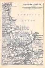 Danzig Umgebung um 1900 historische alte Landkarte Stadtplan map