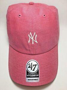 Salmon Red New York Yankees White Mini Logo 47 Brand Clean Up Free Shipping