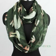Fashion Womens Dragonfly Animal Print Viscose Ladies Summer Infinity Scarf Snood