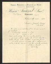 """REDON (35) MERCERIE & TISSUS en gros """"H. FAUVEL"""" en 1914"""