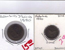 From Show Inv. - 2 OLD COINS from the NETHERLANDS - 1 & 2 1/2 CENTS (BOTH 1880)
