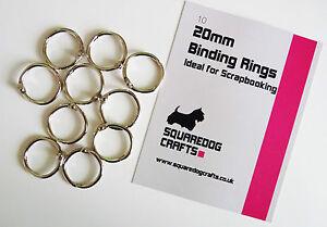 20mm METAL BINDING RINGS 10 PK - IDEAL FOR BINDING AND SCRAPBOOKING