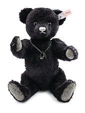 Steiff Onyx Teddy Bear Black Silk Plush Jointed Limited Ed 25cm 034435