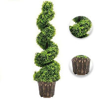 Large Artificial Spiral Topiary Twist Tree Bonsai Potted Green Tower 3 ft/90 cm