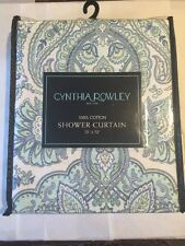 """Cynthia Rowley Fabric Shower Curtain French Medallions Traditional Blue 72"""" NEW"""