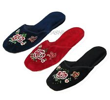 Handmade Embroidered Floral Chinese Women's Velvet Slippers Blue Red Black New