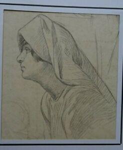 VICTOR  LIVACHE (1872-1944) - ANGERS   PEINTRE XIX - DESSIN VISAGE FEMME