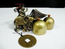 Feng Shui Chinese Year of The MONKEY Elephant Coin Metal Brass Bell Windchime