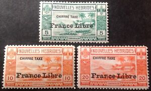 New Hebrides 1941-53 3 x Postage Due stamps France Libre mint hinged