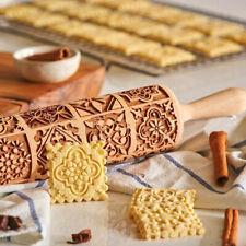 More details for wood embossing rolling pin fondant dough vintage pattern engraved roller