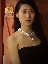 Necklace Choker Multi Row White Pearl Drop Gold Art Deco Class Vintage Light JD5