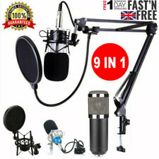 More details for condenser microphone stand filter sound card kit broadcasting recording game uk