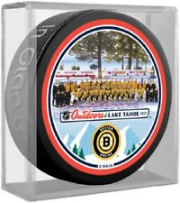 Boston Bruins Lake Tahoe NHL Outdoors Team Photo Souvenir Puck (in Display Cube)