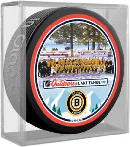 Boston Bruins Lake Tahoe NHL Outdoors Team Photo Souvenir Puck (in Display Cube)