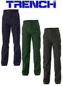 Cotton Drill Cargo Pants - Navy or Black or Bottle Green