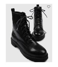 Jo Mercer Ziggy Size 38 7 Black Combat Boot Leather Zipper