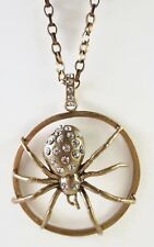 £65 Gothic Gold Spider Round Pendant Long Necklace Swarovski Elements Crystal
