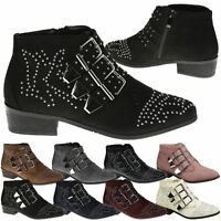 Liv Womens Flats Low Heels Buckle Strappy Biker Ankle Boots Ladies Shoes Studded