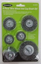 "6pc Wire Brush Set 1/4"" Shank Power Drill Wheel Cup Deburr Remove Rust Crimped"