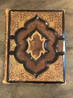 Antique 1870 Family Holy Bible - William W. Harding - Decorated Gold Gilt Edges