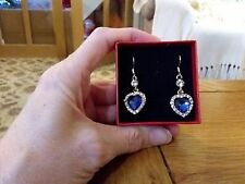 Brand new gold dangling earrings w sapphire and diamond look stones  in gift box