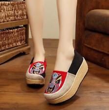 Women Canvas High Wedge Heel Platform Slip On Loafer Ethnic Shoes Red US 7 Zsell