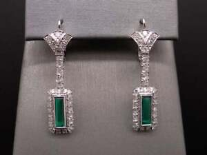 Art Deco 14k White Gold Over 3ct Emerald,Diamond Halo Dangle Chandelier Earrings