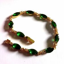 "GB Green marquise emerald +sim diamond 7"",18k gold filled bracelet BOXED Plum UK"