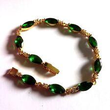 "GB Green marquise emerald +sim diamond 7"",18k gold filled bracelet BOXED Plum UK"