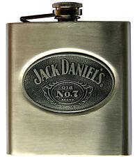 Gourde à whiskey avec logo Jack Daniel's modèle en métal brossé de 170 ml Neuf