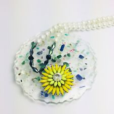 Yellow Shourouk Gem Statement Flower Pearl Necklace