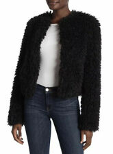 NWT UGG Australia Lorrena Black Faux Fur Cropped Jacket Coat Womens Size L