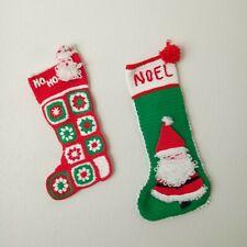 Vintage Handmade Crochet Christmas Stocking Lot of 2 Granny Square 3D Santa Knit