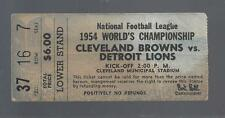 1954 NFL CHAMPIONSHIP DETROIT LIONS @ CLEVELAND BROWNS FOOTBALL TICKET STUB