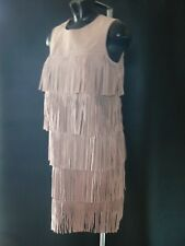 SAMANTHA FAIERS Pink Suede Fringe Dress UK Size 10 NEW TAGS