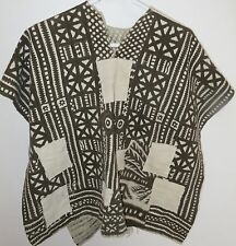 One-of-a-Kind Poncho, Made of Vintage Mud Cloth, Bogolanfini Textiles from Mail