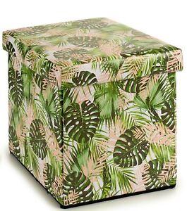 Ottoman Pouffe Faux Leather Foldable Floral Design Storage Box And Seat 31x31cm