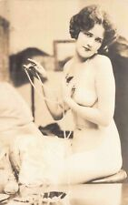 Real Photo Postcard Risqué Nude Woman Holding Pearls~127494