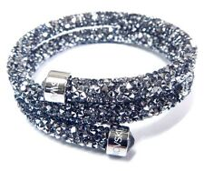 GRAY CRYSTALDUST DOUBLE BANGLE BRACELET SMALL 2016 SWAROVSKI JEWELRY #5255898