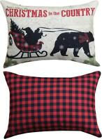 """CHRISTMAS IN THE COUNTRY Decorative Throw Pillow, 18"""" x 13"""", by Manual Weavers"""