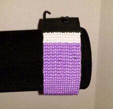 Beaded Native American Purple Heart Ribbon Veteran bracelet regalia pow wow