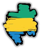 Gabon Map Flag Car Bumper Sticker Decal 4'' x 5''