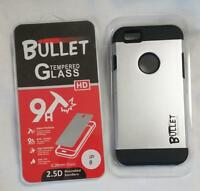 SILVER BULLET HARD CELL PHONE CASE & IMPACT RESISTANT PROTECTIVE GLASS IPHONE6