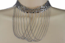Women Long Silver Fringes Fashion Choker Necklace Multi Strings Mesh Metal Cool
