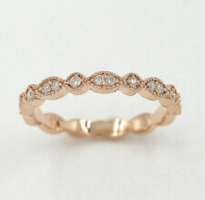 Solid 14k White Gold Wedding Half Eternity Matching Band Ring
