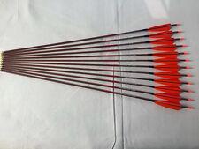 12pcs Carbon arrow wood skin arrow spine600 with Turkey fletching feather arrow