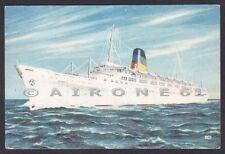 TTS OLYMPIA 01 GREEK LINE-  NAVE MARINA NAVIGAZIONE SHIP Cartolina viagg. 1956