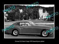 OLD POSTCARD SIZE PHOTO OF 1951 FERRARI 212 INTER COUPE LAUNCH PRESS PHOTO